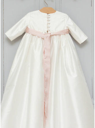 Satin Scoop Neck Sash Baby Girl's Christening Gowns With 3/4 Sleeves (2001216806)