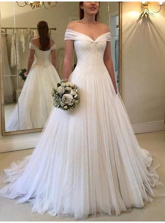 Off-The-Shoulder A-Line/Princess Wedding Dresses Tulle Ruffle Sleeveless Sweep Train