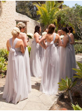 A-Line/Princess Tulle Bridesmaid Dresses Ruffle Sweetheart One-Shoulder V-neck Sleeveless Floor-Length