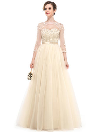 Tulle 3/4 Sleeves Ball-Gown Prom Dresses Sweetheart Beading Flower(s) Floor-Length