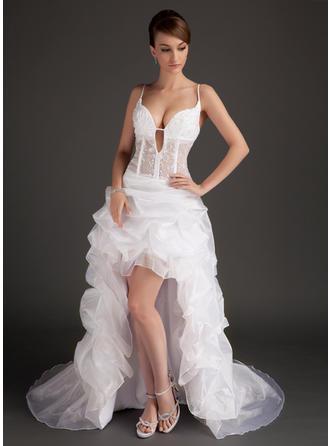 A-Linie/Princess-Linie V-Ausschnitt Asymmetrisch Abiballkleider mit Lace