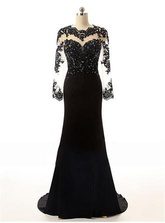 Trumpet/Mermaid Scoop Neck Sweep Train Evening Dress With Beading