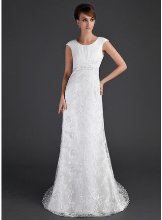 Glamorous Court Train A-Line/Princess Wedding Dresses Scoop Lace Short Sleeves