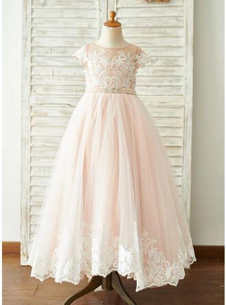 Ball-Gown/Princess Sweep Train Flower Girl Dress - Tulle/Lace Short Sleeves Scoop Neck With Beading