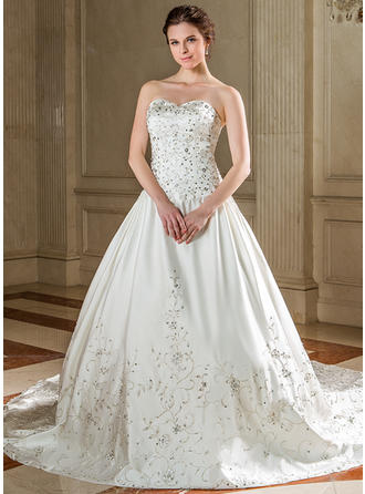 Ball-Gown Cathedral Train Wedding Dress With Embroidered Beading Sequins