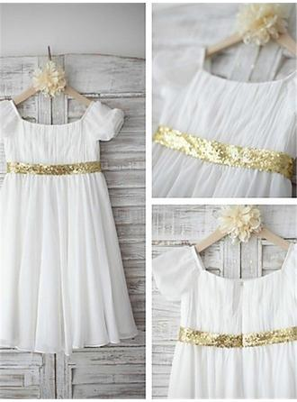 Sexy Tea-length A-Line/Princess Flower Girl Dresses Scoop Neck Chiffon/Sequined Short Sleeves (010211995)