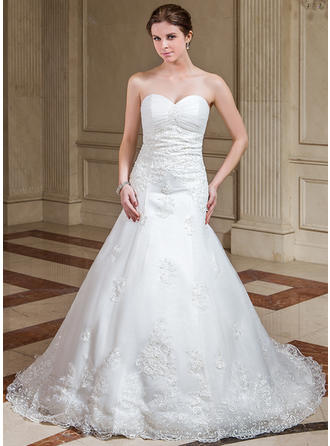 A-Line/Princess Sweetheart Court Train Organza Wedding Dress With Ruffle Beading Appliques Lace Sequins