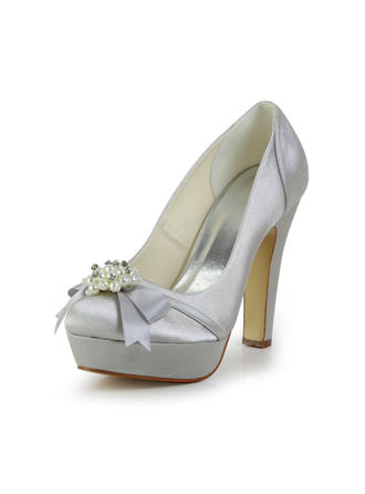 Women's Closed Toe Platform Pumps Chunky Heel Satin With Bowknot Imitation Pearl Wedding Shoes