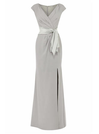 Stretch Crepe Short Sleeves Mother of the Bride Dresses V-neck Empire Split Front Floor-Length