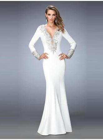 Trumpet/Mermaid V-neck Floor-Length Evening Dresses With Beading