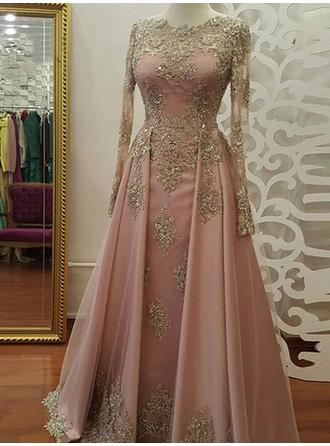 A-Line/Princess Scoop Neck Floor-Length Tulle Evening Dresses With Appliques Lace