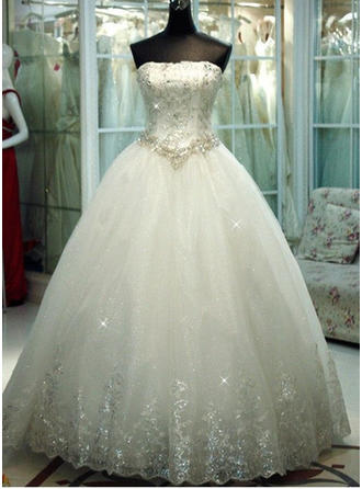 Fashion Floor-Length Ball-Gown Wedding Dresses Strapless Tulle Sleeveless