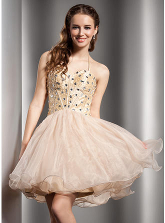 A-Line/Princess Halter Short/Mini Organza Homecoming Dresses With Beading