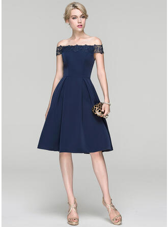 A-Line/Princess Off-the-Shoulder Knee-Length Stretch Crepe Cocktail Dress