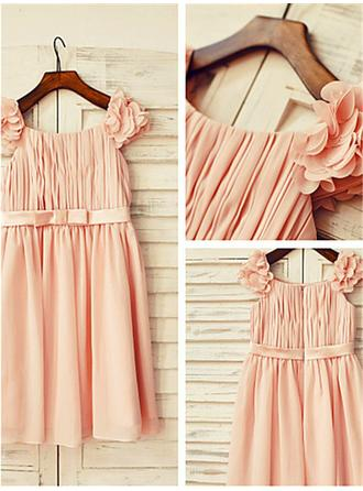 Square Neckline A-Line/Princess Flower Girl Dresses Chiffon Ruffles/Pleated Sleeveless Knee-length