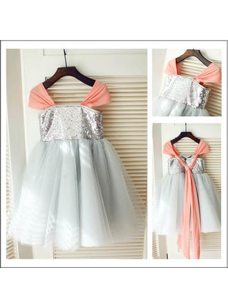 A-Line/Princess Square Neckline Knee-length With Pleated Tulle/Sequined Flower Girl Dresses