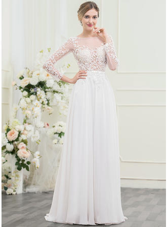 Chiffon Lace A-Line/Princess With Delicate General Plus Wedding Dresses