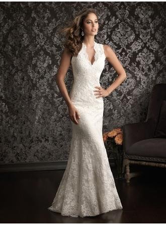 Trumpet/Mermaid V-neck Court Train Wedding Dresses