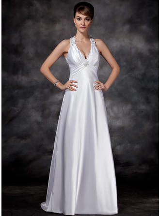Princess Sweep Train Sheath/Column Wedding Dresses Halter Charmeuse Sleeveless
