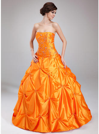 Princess Taffeta Prom Dresses Ball-Gown Floor-Length Sweetheart Sleeveless
