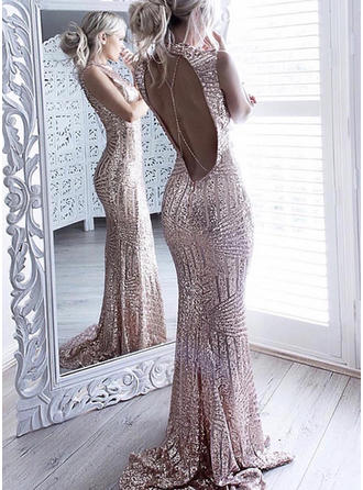 Newest Sequined Evening Dresses Trumpet/Mermaid Sweep Train Scoop Neck Sleeveless