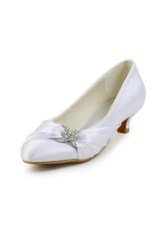 Women's Closed Toe Pumps Kitten Heel Satin With Rhinestone Wedding Shoes