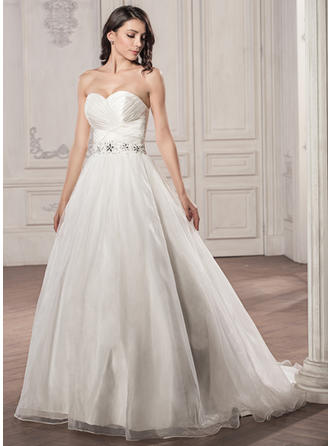 Magnificent Court Train Ball-Gown Wedding Dresses Sweetheart Satin Organza Sleeveless
