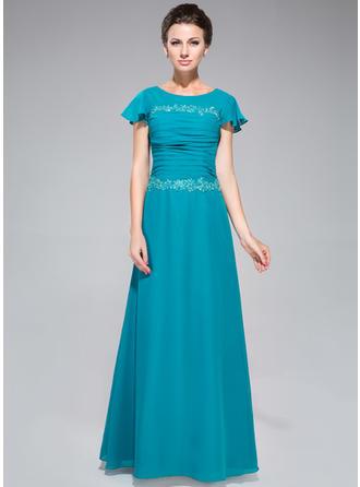 Sheath/Column Chiffon Short Sleeves Scoop Neck Floor-Length Zipper Up Mother of the Bride Dresses