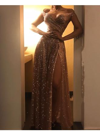 Magnificent Sequined Prom Dresses A-Line/Princess Floor-Length Off-the-Shoulder Sleeveless
