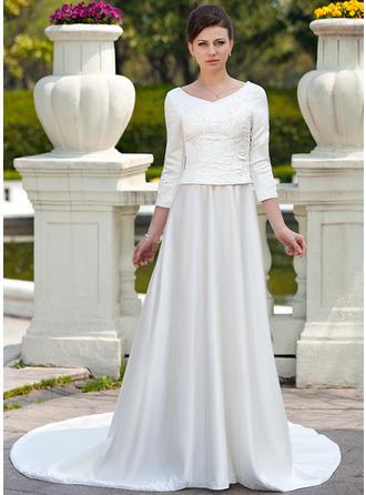 Forme Princesse Col rond Traîne mi-longue Satiné Robe de mariée avec Broderie Emperler