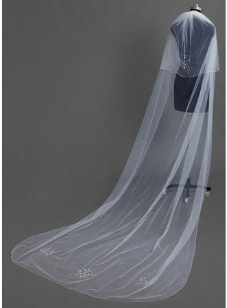 Chapel Bridal Veils Tulle Two-tier Drop Veil With Beaded Edge Wedding Veils