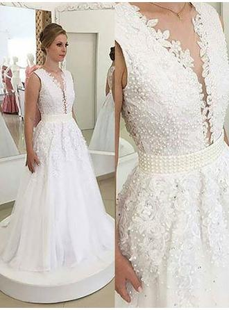 A-Line/Princess V-neck Sweep Train Wedding Dress With Sash Beading Appliques Lace