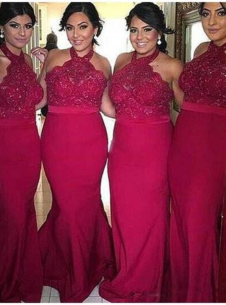 Trumpet/Mermaid Jersey Bridesmaid Dresses Lace Halter Sleeveless Floor-Length