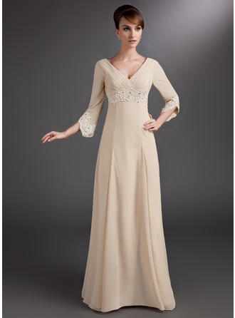 Empire Chiffon 3/4 Sleeves V-neck Floor-Length Zipper Up Mother of the Bride Dresses