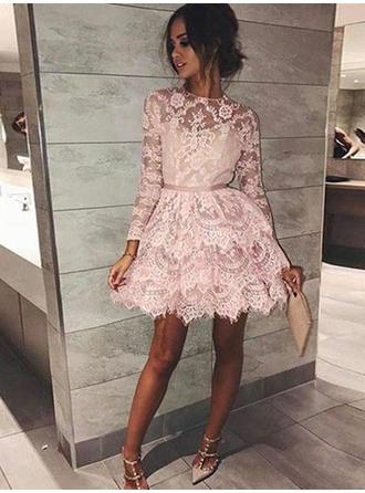 A-Line/Princess Scoop Neck Lace Long Sleeves Short/Mini Sash Homecoming Dresses