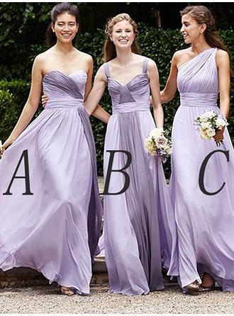 Chiffon Sleeveless A-Line/Princess Bridesmaid Dresses Sweetheart One-Shoulder Ruffle Floor-Length