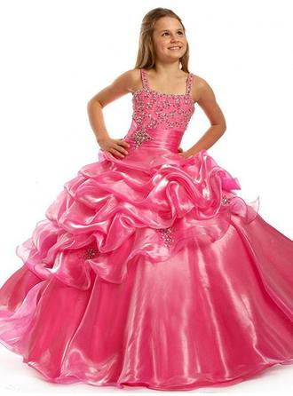 Ball Gown Square Neckline Floor-length With Beading Organza Flower Girl Dresses