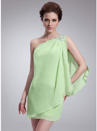 Sheath/Column One-Shoulder Short/Mini Chiffon Homecoming Dresses With Ruffle Beading