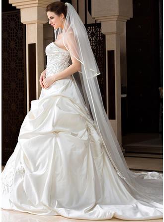 Velos de novia capilla Tul Dos capas Velo cascada con Con lazo Velos de novia