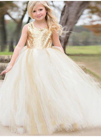 Ball Gown/A-Line/Princess Scoop Neck Floor-length With Bow(s) Tulle/Sequined Flower Girl Dress (010145243)
