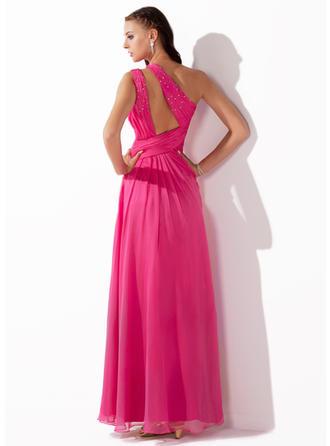 Aライン/プリンセスライン2 袖なし ラッフル ビーズ スパンコール スプリットフロント シフォン プロム用ドレス (018005062)