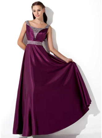 A-Line/Princess Floor-Length Evening Dresses With Ruffle Sequins