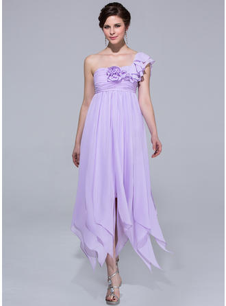 Empire One-Shoulder Ankle-Length Chiffon Prom Dress With Flower(s) Cascading Ruffles