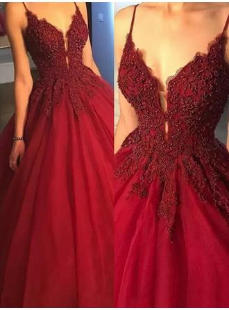 Ball-Gown V-neck Sweep Train Satin Evening Dresses With Beading Appliques Lace