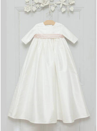 Satin Scoop Neck Sash Baby Girl's Christening Gowns With 3/4 Sleeves