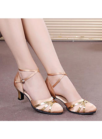 Women's Ballroom Heels Sandals Pumps Satin With Ankle Strap Hollow-out Sequin Dance Shoes