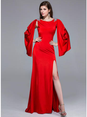 Jersey Long Sleeves A-Line/Princess Prom Dresses Scoop Neck Beading Split Front Sweep Train