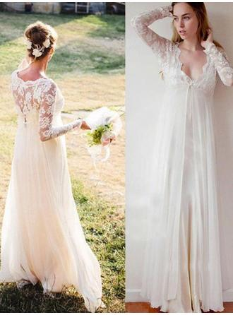 Simple Chiffon Wedding Dresses Empire Floor-Length Deep V Neck Long Sleeves