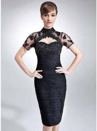Sheath/Column High Neck Knee-Length Mother of the Bride Dresses With Ruffle Lace Beading