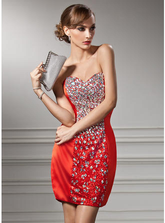 Delicate Sheath/Column Charmeuse Sequined Cocktail Dresses